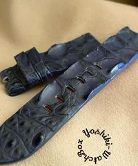 クロコダイル レザー 腕時計ベルト ネイビー (ラグ幅22mm - バックル幅22mm) cro-455