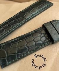 cro-528 クロコダイル レザー 腕時計ベルト グリーン (ラグ幅21mm - バックル幅18mm)