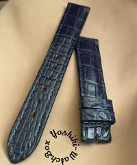 クロコダイル レザー 腕時計ベルト ネイビー (ラグ幅18mm - バックル幅16mm) cro-437