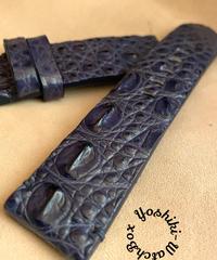 クロコダイルレザー 腕時計ベルト ネイビー (ラグ幅22mm - バックル幅22mm) cro-342