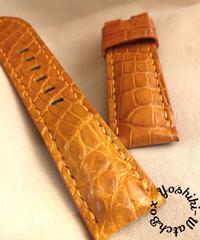 クロコダイル レザー 腕時計ベルト オレンジ (ラグ幅24mm - バックル幅22mm) cro-506