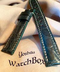 クロコダイル レザー 腕時計ベルト グリーン 18mm-16mm CRO-210