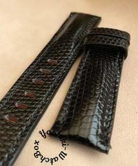 リザード レザー 腕時計ベルト ブラック (ラグ幅22mm - バックル幅20mm) liz-84
