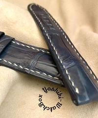 cro-583 クロコダイル レザー 腕時計 ベルト ネイビー (ラグ幅24mm - バックル幅22mm)