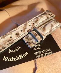 パイソン レザー 腕時計ベルト ホワイト/ブラック 18mm-16mm PYT-23