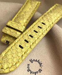 パイソン レザー 腕時計ベルト イエロー (ラグ幅22mm - バックル幅20mm) pyt-56