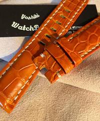 クロコダイル レザー 腕時計ベルト オレンジ 22mm-20mm CRO-197