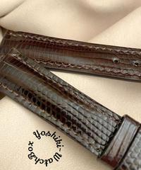 リザード レザー 腕時計ベルト ダークブラウン (ラグ幅18mm - バックル幅16mm) liz-87