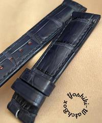 クロコダイル レザー 腕時計ベルト ネイビー (ラグ幅20mm - バックル幅18mm) cro-494