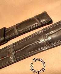 クロコダイル レザー 腕時計ベルト グレー 20mm-18mm CRO-264