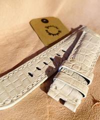 クロコダイル レザー 腕時計ベルト ホワイト 22mm-20mm CRO-143