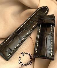 クロコダイル レザー 腕時計ベルト ブラック (ラグ幅24mm - バックル幅22mm) cro-476