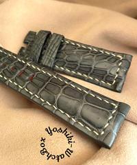 クロコダイル レザー 腕時計ベルト グレー (ラグ幅24mm - バックル幅22mm) cro-391