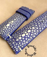 スティングレイ レザー 腕時計ベルト ブルー (ラグ幅24mm - バックル幅22mm)  sti-14