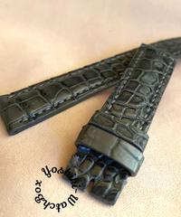 クロコダイルレザー 腕時計ベルト グレー (ラグ幅18mm - バックル幅16mm) cro-348