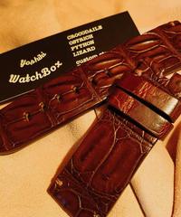 クロコダイル レザー 腕時計ベルト ダークブラウン 26mm-24mm CRO-148
