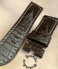 クロコダイル レザー 腕時計ベルト ダークブラウン (ラグ幅26mm - バックル幅22mm) cro-440