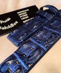 クロコダイル レザー 腕時計ベルト ネイビー 24mm-24mm CRO-167