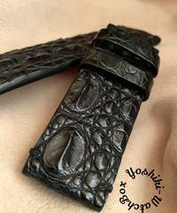 クロコダイルレザー 腕時計ベルト ブラック (ラグ幅26mm - バックル幅26mm) cro-351