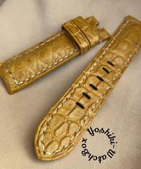 クロコダイル レザー 腕時計ベルト タンブラウン (ラグ幅22mm - バックル幅20mm) cro-438