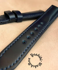コードバン レザー 腕時計ベルト ブルー (ラグ幅20mm - バックル幅18mm) cod-31