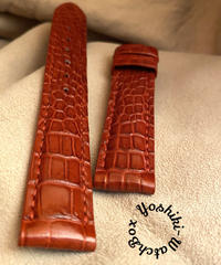クロコダイル レザー 腕時計ベルト バーミリオン (ラグ幅18mm - バックル幅16mm) cro-396