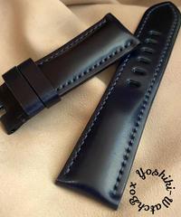 コードバン レザー 腕時計ベルト ブルー (ラグ幅24mm - バックル幅22mm) cod-19