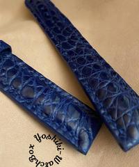 クロコダイル レザー 腕時計ベルト ブルー (ラグ幅18mm - バックル幅16mm) cro-504