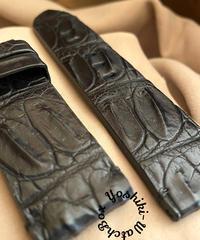 cro-534 クロコダイル レザー 腕時計ベルト ブラック (ラグ幅24mm - バックル幅24mm)