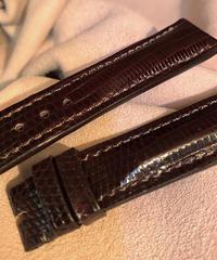 リザード レザー 腕時計ベルト ダークブラウン 18mm-16mm  LIZ-37