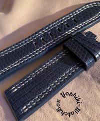 リザード レザー 腕時計ベルト ネイビー 22mm-20mm  LIZ-45