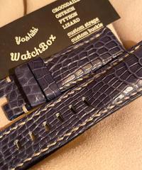 クロコダイル レザー 腕時計ベルト ブルー 26mm-22mm CRO-186