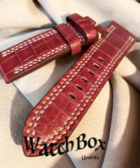 クロコダイル レザー 腕時計ベルト レッドプルーン 24mm-22mm CRO-215