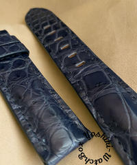 クロコダイル レザー 腕時計ベルト ネイビー (ラグ幅22mm - バックル幅20mm) cro-503
