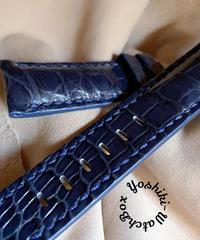 クロコダイル レザー 腕時計ベルト ブルー 24mm-22mm CRO-273
