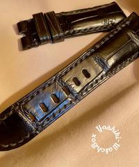 クロコダイル レザー 腕時計ベルト ブラック 26mm-22mm CRO-261