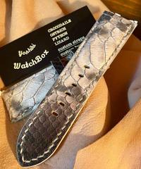 パイソン レザー 腕時計ベルト ホワイト/ブラック 26mm-24mm PYT-24