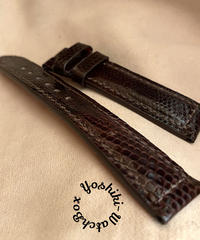 リザード レザー 腕時計ベルト ダークブラウン (ラグ幅18mm - バックル幅16mm) liz-72