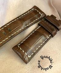 クロコダイル レザー 腕時計ベルト ライトブラウン (ラグ幅24mm - バックル幅22mm) cro-417