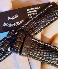 クロコダイル レザー 腕時計ベルト ブラック 24mm-22mm CRO-149