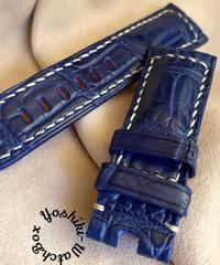 クロコダイルレザー 腕時計ベルト ブルー (ラグ幅26mm - バックル幅22mm) cro-349