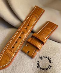 クロコダイル レザー 腕時計ベルト オレンジ (ラグ幅20mm - バックル幅18mm) cro-442