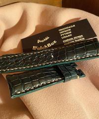 クロコダイル レザー 腕時計ベルトグリーン 24mm-22mm CRO-203