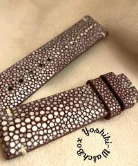スティングレイ レザー 腕時計ベルト ブラウン (ラグ幅20mm - バックル幅18mm)  sti-21