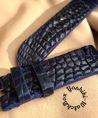 クロコダイル 腕時計ベルト ブルー 22mm-22mm CRO-297