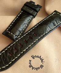 クロコダイル レザー 腕時計ベルト ブラック (ラグ幅24mm - バックル幅22mm) cro-419