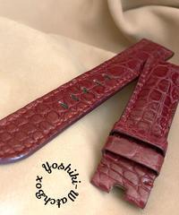 クロコダイル レザー 腕時計ベルト レッドプルーン (ラグ幅22mm - バックル幅20mm) cro-484
