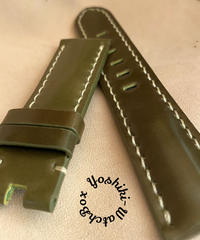 cod-40 コードバン レザー 腕時計ベルト カーキ (ラグ幅22mm - バックル幅20mm)