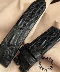 クロコダイル レザー 腕時計ベルト ブラック (ラグ幅24mm - バックル幅24mm) cro-403