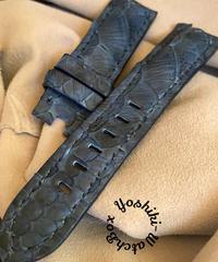 パイソン レザー 腕時計ベルト ブルー (ラグ幅22mm - バックル幅20mm) pyt-59